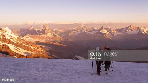 Alps, Switzerland, Hiker going down Monte Rosa