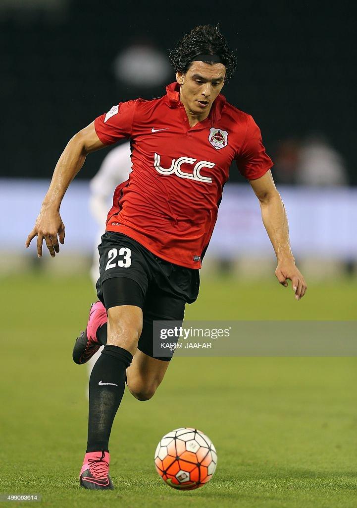 AlRayyan's Sebastian Soria runs with the ball during the Qatar Stars League football match between AlRayyan and ElJaish on November 28 in the capital...