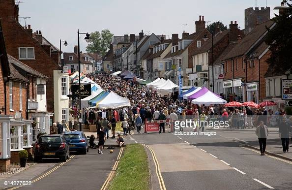 Alresford Hampshire Southern England Uk May 2016 a Crowded Main Street Which Had Been Closed To Traffic at Alresford a Market Town Which Has the...