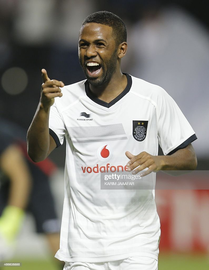 Al-Sadd's Khalfan Ibrahim celebrates after scoring a goal during their AFC champions league Group C football match against Uzbekistan's Lokomotiv team at Jassim Bin Hamad Stadium in Doha on March 17, 2015. Al-Sadd won 6-2. AFP PHOTO / AL-WATAN DOHA / KARIM JAAFAR == QATAR OUT ==