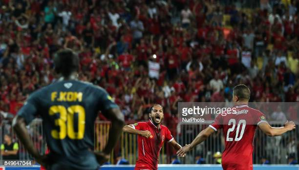 Alsaid of AlAhly scores a penalty during the CAF Champions League quarterfinal firstleg football match between Egypt's AlAhly and Tunisia's Esperance...