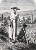 Alsatian shepherd france historic illustration 1877