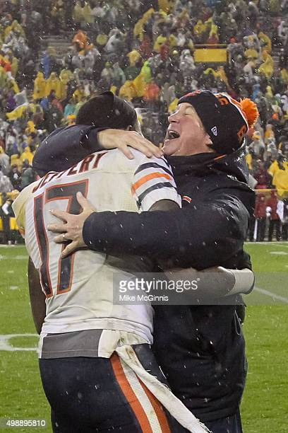 Alshon Jeffery and head coach John Fox of the Chicago Bears hug after defeating the Green Bay Packers at Lambeau Field on November 26 2015 in Green...