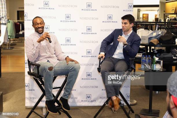 Alshon Jeffery and Kevin Lavelle CEO and Founder of Mizzen and Main attend the Alshon Jeffery Personal Appearance for Mizzen and Main at Nordstrom...