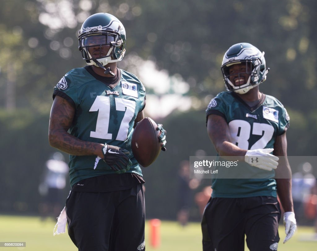 Alshon Jeffery #17 and Torrey Smith #82 of the Philadelphia Eagles look on during mandatory minicamp at the NovaCare Complex on June 13, 2017 in Philadelphia, Pennsylvania.