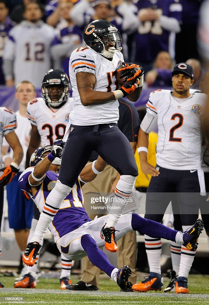 Alshon Jeffery #17 of the Chicago Bears catches the ball against Josh Robinson #21 of the Minnesota Vikings during the fourth quarter of the game on December 9, 2012 at Mall of America Field at the Hubert H. Humphrey Metrodome in Minneapolis, Minnesota. The Vikings defeated the Bears 21-14.