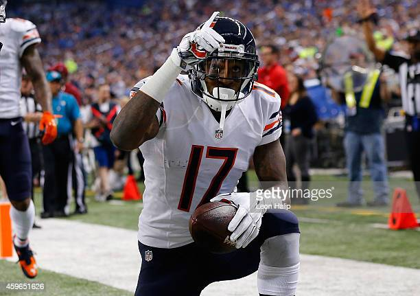 Alshon Jeffery of the Chicago Bears celebrates a first quarter touchdown against the Detroit Lions at Ford Field on November 27 2014 in Detroit...