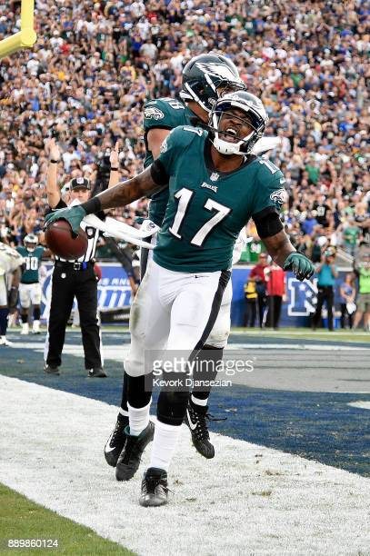 Alshon Jeffery of the Philadelphia Eagles celebrates after scoring a touchdown during the game against the Los Angeles Rams at the Los Angeles...