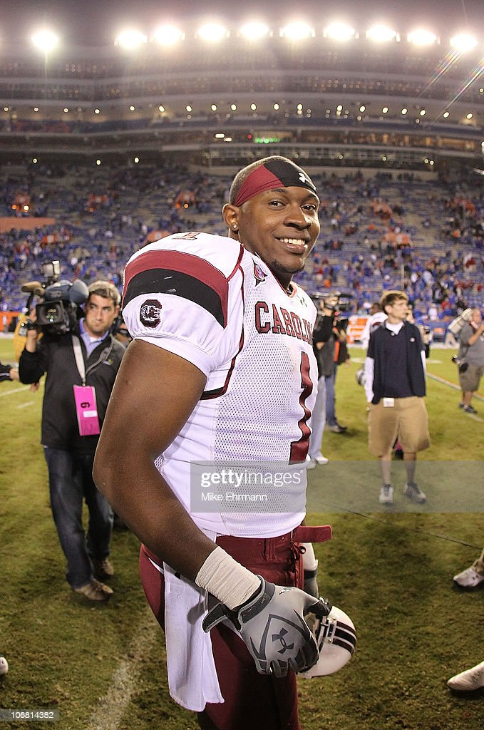 Alshon Jeffery #1 of the South Carolina Gamecocks smiles after winning a game against the Florida Gators at Ben Hill Griffin Stadium on November 13, 2010 in Gainesville, Florida. The Gamecocks beat the Gators 36-14.