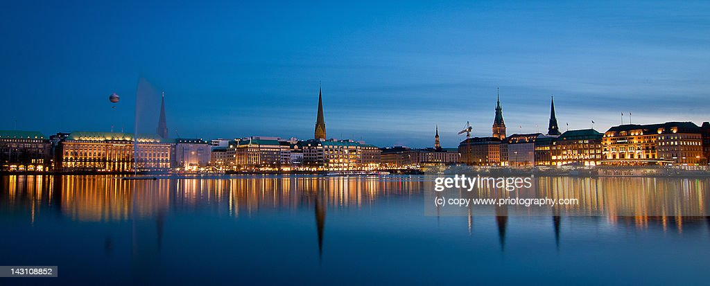 Alster Hamburg at night : Stock Photo
