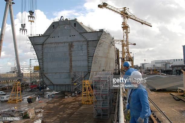Alstom Atlantique Shipyards In Saint Nazaire France On October 14 2004Construction of LNG carrier for Gaz de France Provalys a capacity of 150000...