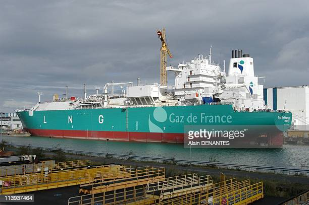 Alstom Atlantique Shipyards In Saint Nazaire France On October 14 2004The LNG Carrier Gaz de France Energy with a capacity of 75000 cubic meters at...