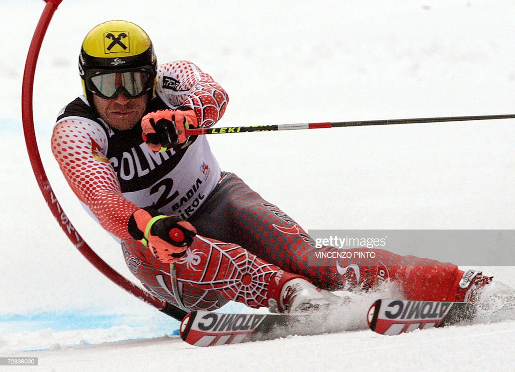 Austria's Hermann Maier clears a gate 17 December 2006 during the first run of his Alpine skiing giant slalom race in Alta Badia Hermann Maier...