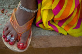 Alta dyed foot with toe rings and silver anklet