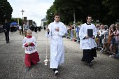 Altar boys take part in the 'Grand Pardon' religious procession on July 26 2016 in SainteAnned'Auray western France This Catholic pilgrimage which...