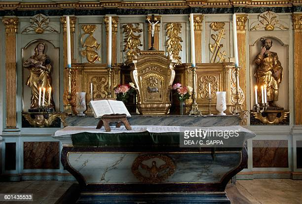 Altar in the Beaupuy cemetery chapel MidiPyrenees France 18th century