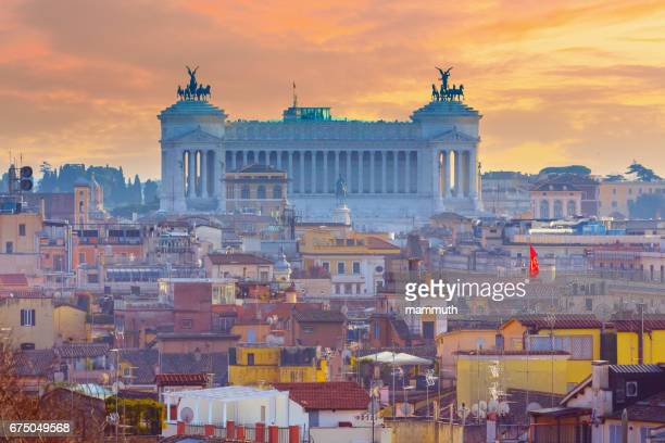 Altare della Patria (National Monument to Victor Emmanuel II) over Rome, Italy