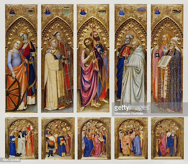 Altarpiece of All Saints by Giovanni da Milano 14th century oil and gold on board Italy Tuscany Florence Uffizi Gallery Whole artwork view Altarpiece...