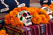 Flower and skeleton alter at Dia de los Muertos, Day of the dead, in Los Angeles at the Hollywood Forever Cemetery grounds.