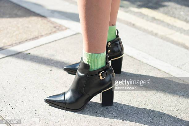 Alter Buyer Sonja Xiao Long wears Louis Vuitton boots on day 5 during London Fashion Week Autumn/Winter 2016/17 on February 23 2016 in London England