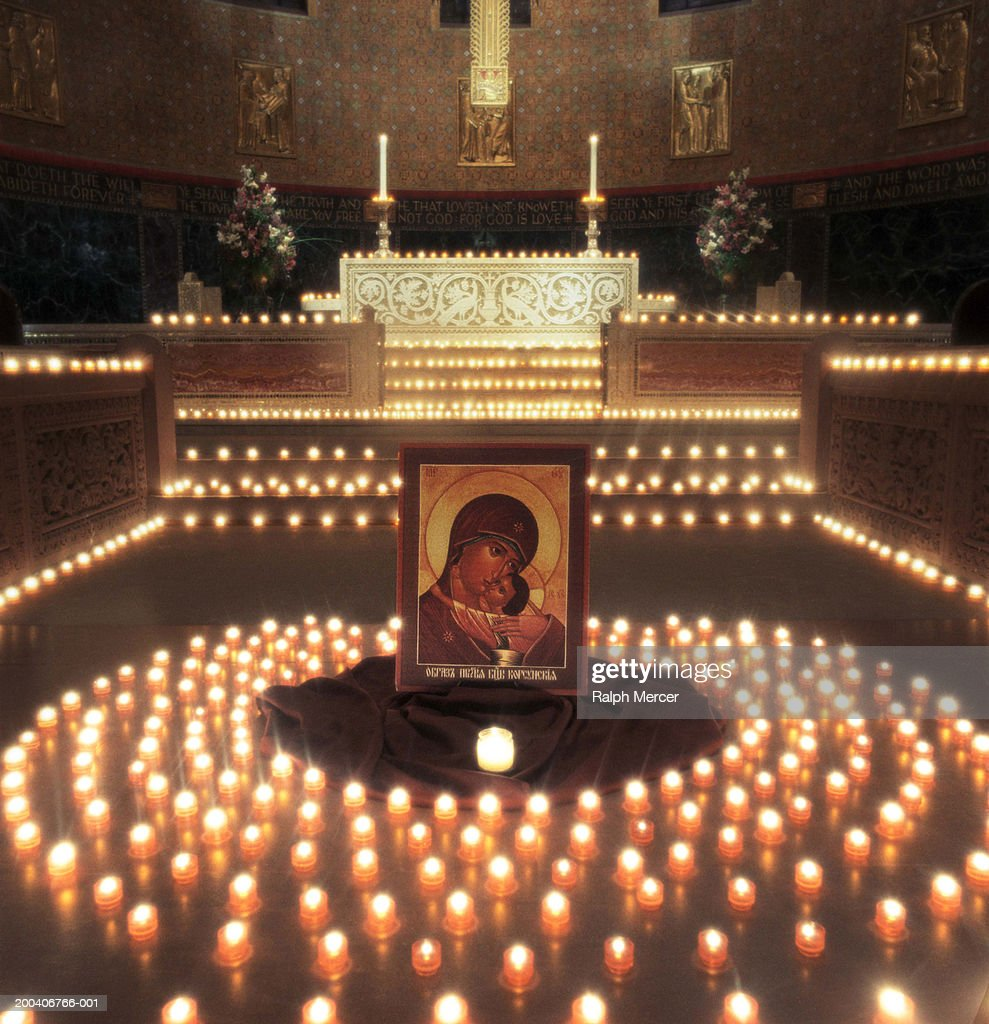Alter with religious icon painting and candles