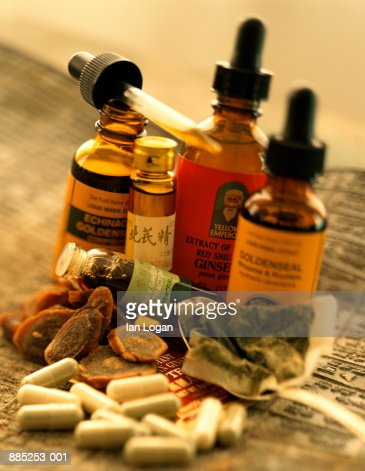 Alternative and Chinese herbal medicines, close-up : Stock Photo