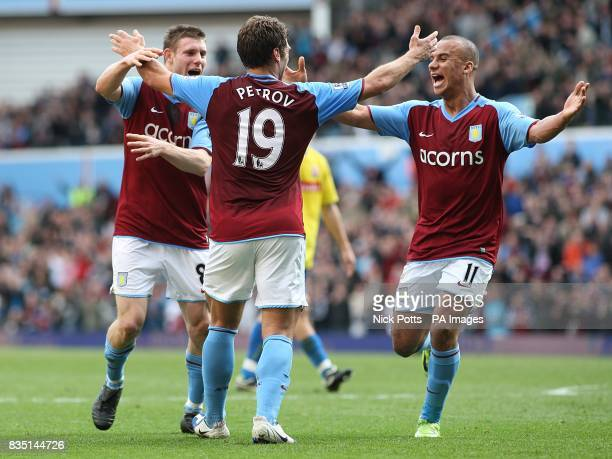 **Alternative Crop** Aston Villa's Stiliyan Petrov is congratulated by team mates Gabriel Agbonlahor and James Milner after he scores the opening...