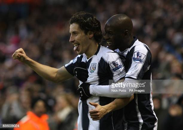 **Alternative Crop** West Bromwich Albion's Robert Koren celebrates with team mate MarcAntoine Fortune after he scores his second and his side's...