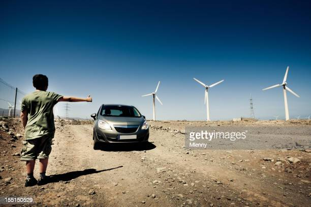 Energia alternativa ragazzo Hitchhiker Gran Canaria,/a figlio/a di fare l'autostop serie