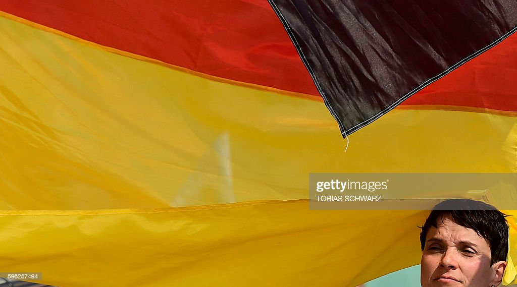 Alternative for Germany party chairwoman Frauke Petry attends an election campaign event in Wismar northeastern Germany on August 27 2016 On...