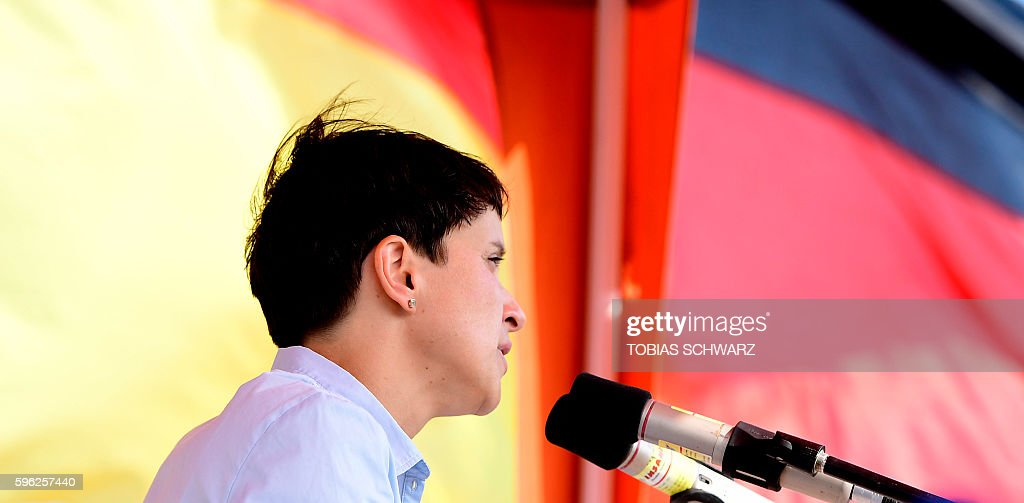 Alternative for Germany party chairwoman Frauke Petry gives a speech during an election campaign event in Wismar northeastern Germany on August 27...