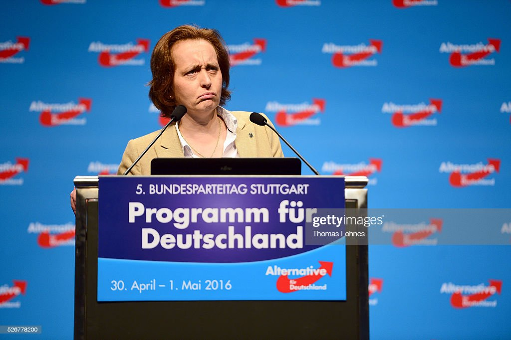 'Alternative fuer Deutschland' (AfD) co-deputy head Beatrix von Storch speaks at the party's federal congress on May 01, 2016 in Stuttgart, Germany. The AfD, a relative newcomer to the German political landscape, has emerged from Euro-sceptic conservatism towards a more right-wing leaning appeal based in large part on opposition to Germany's generous refugees and migrants policy. Since winning seats in March elections in three German state parliaments the party has sharpened its tone, calling for a ban on minarets and claiming that Islam does not belong in Germany.