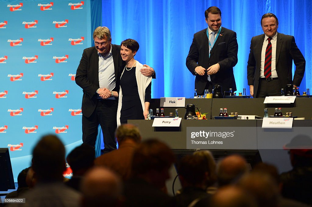 Alternative fuer Deutschland (AfD) co-leader Joerg Meuthen (L) hugs <a gi-track='captionPersonalityLinkClicked' href=/galleries/search?phrase=Frauke+Petry&family=editorial&specificpeople=10828161 ng-click='$event.stopPropagation()'>Frauke Petry</a>, AfD-head at the end of he party's federal congress on May 01, 2016 in Stuttgart, Germany. The AfD, a relative newcomer to the German political landscape, has emerged from Euro-sceptic conservatism towards a more right-wing leaning appeal based in large part on opposition to Germany's generous refugees and migrants policy. Since winning seats in March elections in three German state parliaments the party has sharpened its tone, calling for a ban on minarets and claiming that Islam does not belong in Germany.