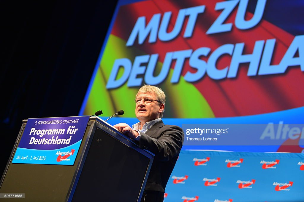 Alternative fuer Deutschland (AfD) co-leader Joerg Meuthen (R) pictured at he party's federal congress on May 01, 2016 in Stuttgart, Germany. The AfD, a relative newcomer to the German political landscape, has emerged from Euro-sceptic conservatism towards a more right-wing leaning appeal based in large part on opposition to Germany's generous refugees and migrants policy. Since winning seats in March elections in three German state parliaments the party has sharpened its tone, calling for a ban on minarets and claiming that Islam does not belong in Germany.