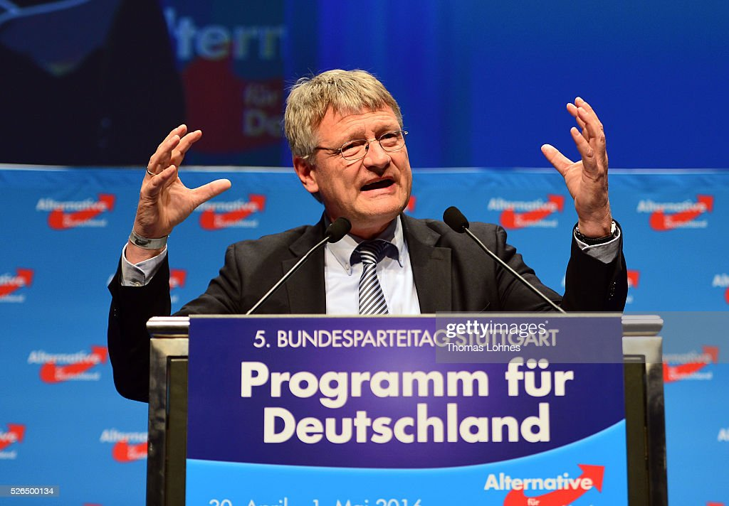 Alternative fuer Deutschland (AfD) co-leader Joerg Meuthen speaks at the party's federal congress on April 30, 2016 in Stuttgart, Germany. The AfD, a relative newcomer to the German political landscape, has emerged from Euro-sceptic conservatism towards a more right-wing leaning appeal based in large part on opposition to Germany's generous refugees and migrants policy. Since winning seats in March elections in three German state parliaments the party has sharpened its tone, calling for a ban on minarets and claiming that Islam does not belong in Germany.