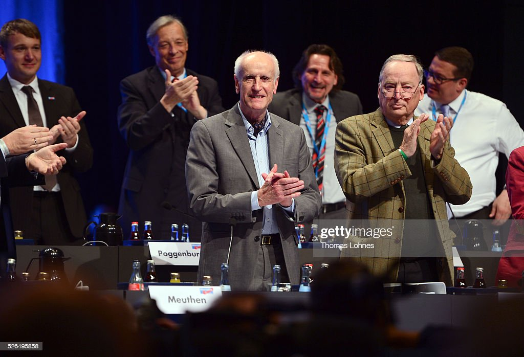 Alternative fuer Deutschland (AfD) deputy chairman Alexander Gauland (R) and the delegates applaud the candidat Albrecht Glaser (C) at the party's federal congress on April 30, 2016 in Stuttgart, Germany. The AfD, a relative newcomer to the German political landscape, has emerged from Euro-sceptic conservatism towards a more right-wing leaning appeal based in large part on opposition to Germany's generous refugees and migrants policy. Since winning seats in March elections in three German state parliaments the party has sharpened its tone, calling for a ban on minarets and claiming that Islam does not belong in Germany.