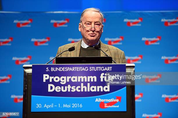 Alternative fuer Deutschland deputy chairman Alexander Gauland speaks at the party's federal congress on April 30 2016 in Stuttgart Germany The AfD a...