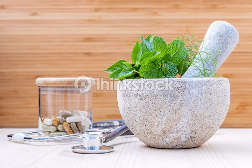 Alternative health care fresh herbs .