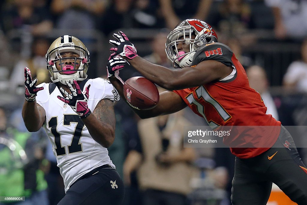 Alterraun Verner #21 of the Tampa Bay Buccaneers deflects a pass intended for Robert Meachem #17 of the New Orleans Saints during the first quarter of a game at the Mercedes-Benz Superdome on October 5, 2014 in New Orleans, Louisiana.