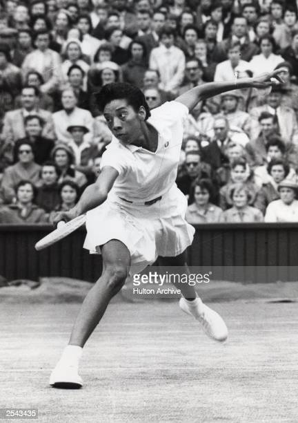 Althea Gibson of the United States plays during Wimbledon in 1956 Gibson the first black person to win Wimbledon and the US national title died...