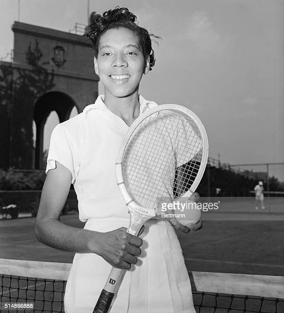Althea Gibson poses with her tennis racket in the West Side Tennis Club in Forest Hills New York She is the first African American woman or man to...