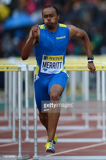 US althete Aries Merritt competes in the men's 110m hurdles round 1 heat 2 at the 2012 Diamond League athletics meet at Crystal Palace in London on...
