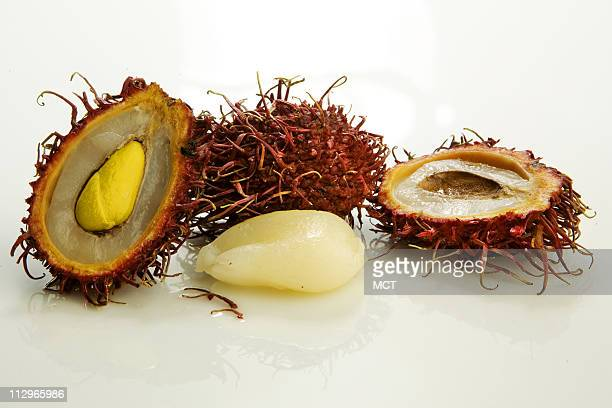 Although fearsome looking Rambutan fruit is sweet and juicy