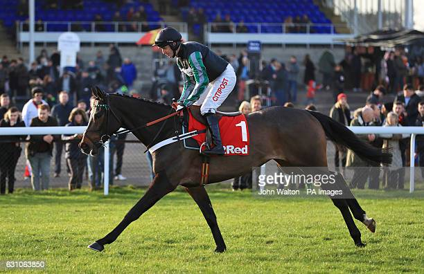 Altior ridden by jockey Noel Fehily going to post prior to the 32Redcom Wayward Lad Novices' Chase