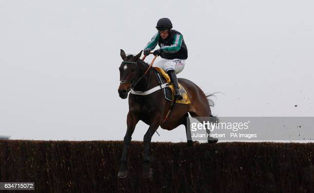 Altior ridden by Nico de Boinville clears the last fence before going on to win The Betfair Exchange Steeple Chase Race run during Betfair Super...