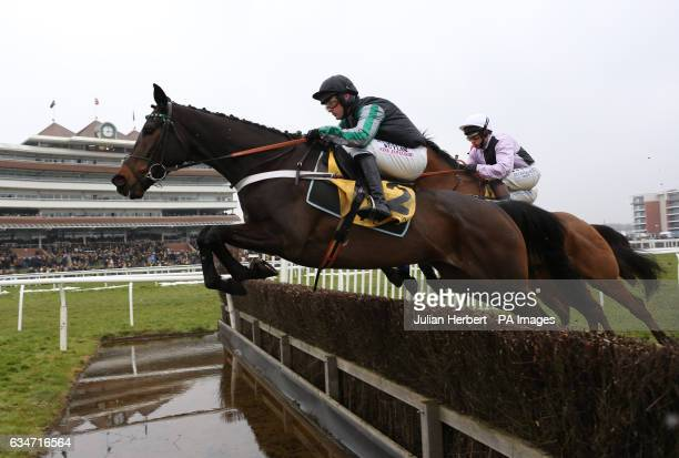 Altior ridden by Nico de Boinville clears the lwater jump before going on to win The Betfair Exchange Steeple Chase Race run during Betfair Super...
