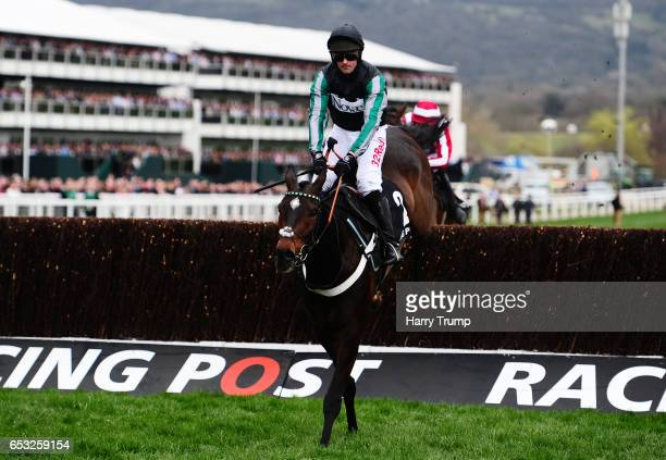 Altior ridden by Nico De Boinville jumps the last before going on to win the Racing Post Arkle Challenge Trophy Novices Chase during Champion Day of...