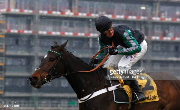 Altior ridden by Nico de Boinville pulls away from the last fence before going on to win The Betfair Exchange Steeple Chase Race run during Betfair...