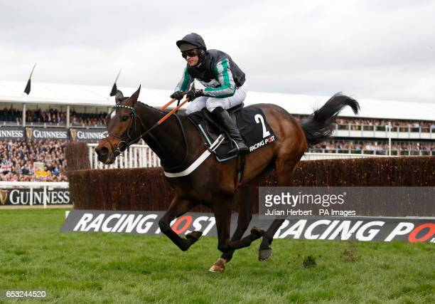 Altior ridden by Nico de Boinville pulls away from the last fence before going on to win The Racing Post Arkle Challenge Trophy Novices' Steeple...