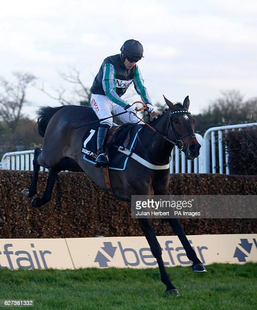 Altior ridden by Noel Fehily clears the last fence before going on to win The Racing Post Henry VIII Novices' Steeple Chase Race run during day two...